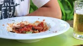 stirred : Italian tomato sauce noodles on the table