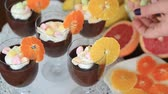 pudin : Delicious chocolate mousse with different kind of fresh fruits and candy