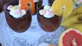 pudding dishes : Delicious chocolate mousse with different kind of fresh fruits and candy