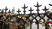 everlasting : Charles Bridge and Love locks  in Prague  PRAGUE, CZECH REPUBLIC - Feb 7, 2017 Stock Footage