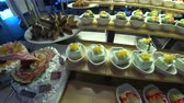 different kinds : Many different kinds of dessert in restaurant