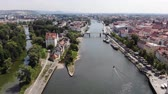 resto : Aerial view of Danube river and of Regensburg, Germany. Technique of smooth descent down, 4K