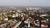Aerial view of Drohobych, Ukraine. City of nine barrels of salt. Architecture, city hall, central square, cathedral of the Holy Trinity, Church of St. Bartholomew. Smooth flight forward