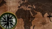 worldmap : old map with a compass needle Stock Footage