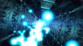 chodba : Abstract sci-fi spaceship corridor with blue laser