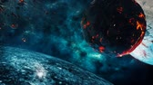 constellations : Flying through Star fields in space near a beautiful planets Stock Footage