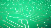 nixie : Flying over the chip with a flying electrons. Green color Stock Footage