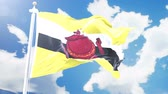 brunei : Realistic flag of Brunei waving against time-lapse clouds background. Seamless loop in 4K resolution with detailed fabric texture.