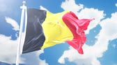 belga : Realistic flag of Belgia waving against time-lapse clouds background. Seamless loop in 4K resolution with detailed fabric texture.