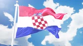hırvatistan : Realistic flag of Croatia waving against time-lapse clouds background. Seamless loop in 4K resolution with detailed fabric texture.