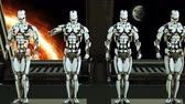 robotický : Robots soldiers on a spaceship salute against the background of space and planets. A futuristic concept of a UFO. Dostupné videozáznamy