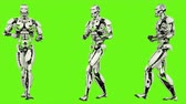 considerar : Robot android is backwards rife walk. Realistic looped motion on green screen background. 4K. Stock Footage