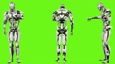 considerar : Robot android is entering code. Realistic looped motion on green screen background. 4K.