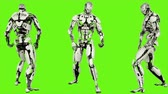 considerar : Robot android is playing guitar. Realistic looped motion on green screen background. 4K.