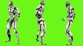 considerar : Robot android look back. Realistic looped motion on green screen background. 4K.