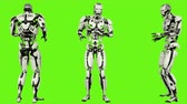 considerar : Robot android scared. Realistic looped motion on green screen background. 4K.
