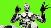 considerar : Robot android playing the piano. Realistic looped motion on green screen background. 4K. Stock Footage