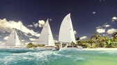 catamaran : Sailboats on the beach of a desert island in the beautiful blue ocean Stock Footage