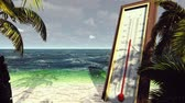 индикатор : Thermometer Fahrenheit Celsius shows lowering temperature. The concept of global cooling. Стоковые видеозаписи
