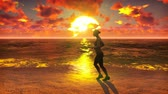 sportovkyně : Sportswoman runs along the beach ocean at sunrise. Beautiful summer looped background.
