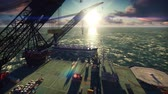 arany : Oil drilling platform with a passing oil tanker in the sea at sunrise. Realistic cinematic animation. Stock mozgókép