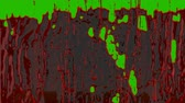 blood droplet : Streams of splashing organic blood in front of a green screen for VFX, crime scenes, horror movies and halloween. Stock Footage