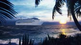 A luxury cruise ship docked near an island with palm trees and tropical plants in the wind at sunset. Beautiful summer loop background.