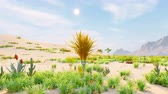 Desert horizon. Clear day. Mountains in the distance, sand dunes and blue sky. Beautiful scenery. Sand dunes and hot sky. Sand dunes and cacti. Beautiful natural background. 動画素材