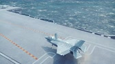 F-35 fighter takes off vertically from the aircraft carrier in clear day.