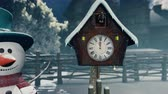 kardan adam : A Christmas Snowman stands next to an old clock. Christmas and new year 3D rendering.