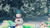 kardan adam : Christmas snowmen in a snowy enchanted forest. Christmas and New year 3D rendering.