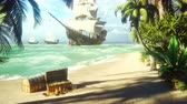 tatarak : Sand, sea, sky, clouds, palm trees and a clear summer day. Pirate frigates docked near the island. Pirate island and chests of gold. Beautiful looped animation.