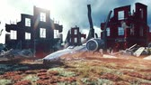 vojsko : A crashed spaceship in a post-apocalyptic ruined city. The concept of Apocalypse. Realistic animation. Dostupné videozáznamy