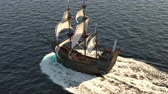 haditengerészet : A medieval ship sailing on a vast blue sea. Concept of sea adventures in the Middle ages.