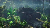 broken tree : Wrecked tank lies in the jungle in the middle of palm trees and tropical vegetation