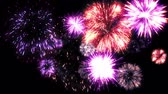 boldog karácsonyt : Fireworks motion graphics with night background 3 Stock mozgókép
