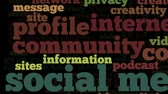 Conceptual video of tag cloud containing words related to social media, marketing, blogs, social networks and Internet, stressing selected words, on black background Dostupné videozáznamy
