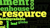 Animation of conceptual tag cloud containing words related to ecology, environment, pollution, renewable resources, recycling, conservation, efficiency, on black background Dostupné videozáznamy