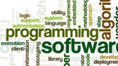 Animation of tag cloud containing words related to software development and engineering, programing, coding, computing and software applications, on white background