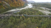 waggon : Aerial, top view from Drone: The train carries a felled forest. Damage to nature Stock Footage