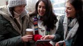 varanda : Three women looking at a tablet and a smartphone together. They are wrapped up warm and standing on a city balcony. Stock Footage