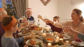 алкоголь : Family are toasting their glasses before they eat their christmas dinner. Стоковые видеозаписи