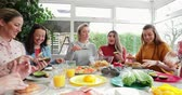 炭水化物 : Small group of female friends preparing a healthy lunch inside of a conservatory on a weekend away.