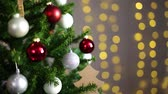 christmas background - close up of decorated christmas tree and lights