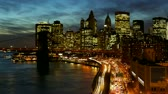 skyline : Busy traffic in New York City Manhattan at dusk time lapse