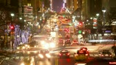 transportation : New York City Manhattan street view with busy traffic at dusk time lapse