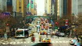financial : New York City Manhattan street view with busy traffic along 42nd street time lapse Stock Footage