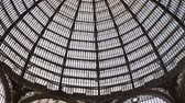 napoles : Vertical Pan of the Glass Dome and Interior of the Gallery Umberto I, a Beautiful Historic Public Shopping Mall in Naples, Italy, Europe