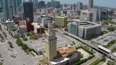 bell tower : Miami Freedom Tower Aerial Orbit Stock Footage