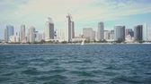 segundos : 4K San Diego downtown skyline view from Coronado. Stock Footage